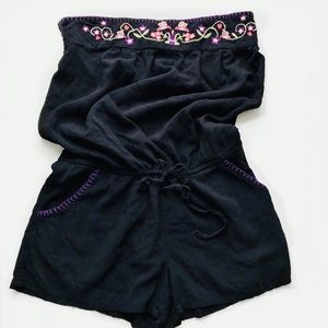 Xhileration Strapless Embroidered Floral Romper
